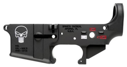 Spikes AR-15 Lower Receiver, Forged, Punisher, Multi-Caliber, Black