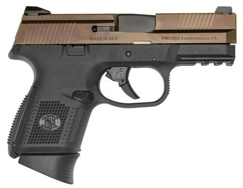 """FN FNS 9 Compact, 9mm, 3.6"""", 12/17rd Mags, Black Frame, Bronze Slide"""