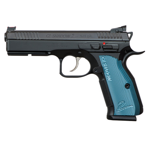 "CZ SP-01 Shadow 2 9mm, 4.9"", Adj. Target Sights, Steel Frame, Blue Grips, 17rd"