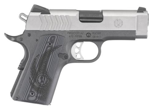 "Ruger SR1911 Officer 9mm 3.6"" Barrel Stainless Steel Novak Sights G-10 Grip 10rd Mag"