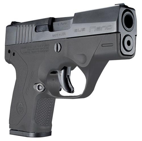 "Beretta BU9 Nano Double 9mm 3"", /8+1 AS Gray Polymer Grip/F,  6 rd"