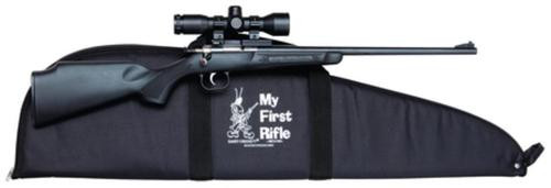 "Keystone Crickett 240 Youth Package 22LR, 16.125"" Barrel, Blued, Black Synthetic Stock, Inc. Mount/Scope/Case"