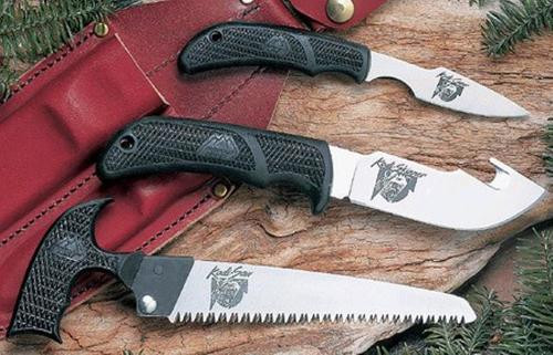 Outdoor Edge KODI PAK Fixed Set AUS-8 Caper/Skinner, Gut Hook/Saw Blade