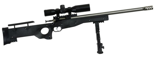 """Keystone Sporting Arms, Cricket Precision Rifle, Bolt Action Rifle, Single Shot, Youth, 22 LR, 16.125"""" Barrel, Stainless Finish, Black Stock, Adjustable Sights, Includes Bipod/Scope Mount/4X28 Combat Scope/Sun Shade, Right Hand"""