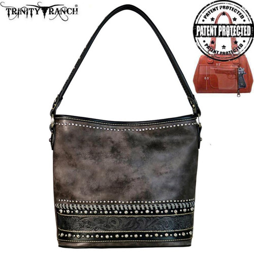 Montana West Trinity Ranch Tooled Leather Collection Concealed Carry Hobo Bag, Black
