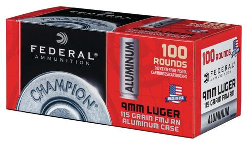 Federal Champion Ammo 9mm 115g FMJ Round Nose 100 Rd Bulk Pack