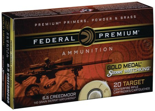 Federal Gold Medal 6.5mm Creedmoor 140gr, Sierra MatchKing 20rd Box