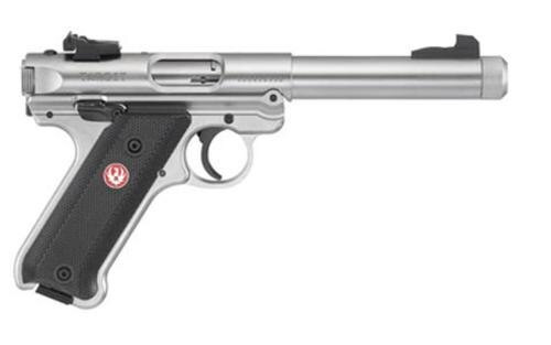 "Ruger Mark IV Target, 22LR, 5.5"", 10rd, Stainless Steel, Adjustable Rear Sight, Checkered Grip"