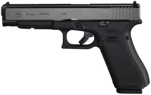 "Glock G34 Gen5 MOS (Modular Optics System), 5.3"", 10rd, Adjustable Sights, Black"