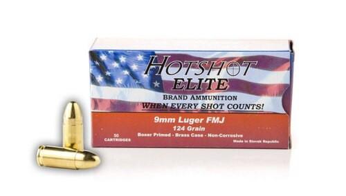 Century Hotshot Elite 9mm (124 Gr.) FMJ Slovak Republic Mfr. Boxer Primed, Non- Corrosive, Brass Case, Lead Core, 50rds/Box