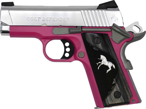 "Colt Defender 1911, 9mm, 3"" Barrel, TALO Exclusive Raspberry Frame/Polished SS Slide 8rd Mag"