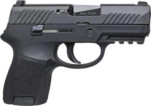 Sig P320 9mm 3.6in Barrel Nitron Black DAO Contrast Sights (2) 12rd Steel Mag Rail