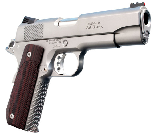 """Ed Brown Kobra Carry, Semi-automatic, 1911, Commander, 45ACP, 4.25"""" Barrel, Bobtail Frame, G10 Grips, Matte Stainless, Thumb Safety, Black Fixed Rear Sight, Orange HD XR Front Sight, Recessed Slide Stop, 7Rd, 2 Magazines"""