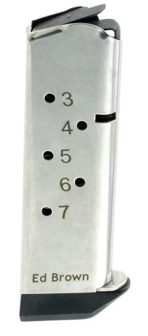 Ed Brown Magazine, 45ACP, 7Rd, Stainless, Fits 1911, Includes 1 Thick and 1 Thin Base Pad