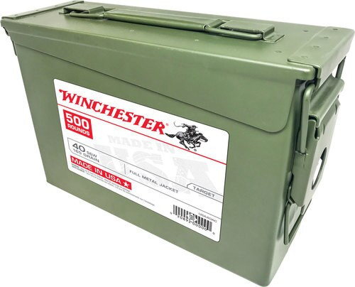 WINCHESTER USA 40SW 165g FMJ 500 RD AMMO CAN