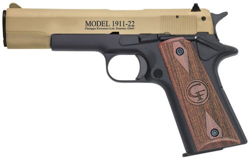"Chiappa Firearms 1911, 22LR, 5"" Barrel, 10rd, Hogue Rubber Grip, Tan Slide"