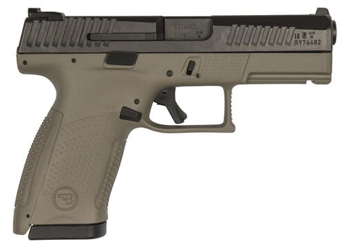 "CZ P-10 Compact, 9mm, 4"" Barrel, 10rd, Flat Dark Earth Grip, Black Slide"