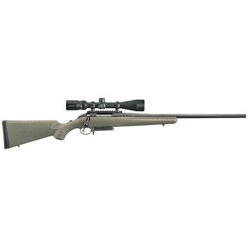 "Ruger American Predator Bolt-Action, 308 Win 18"" Threaded Barrel, Matte Black, Moss Green Synthetic Stock, Vortex Crossfire II Scope, 3Rd Mag"
