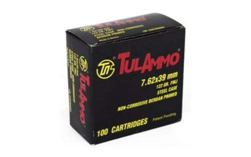 Tulammo 7.62X39mm 122gr, FMJ, Steel Case, 100rd/Box