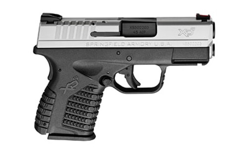 "Springfield XD-S, 45 ACP, 3.3"", 5rd, Black Grip, Stainless Steel Slide"