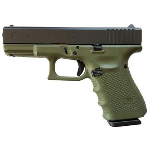 "Glock G19 Gen4 9mm, 4"" Barrel Battelfield Green Frame 3- 15rd Mags"