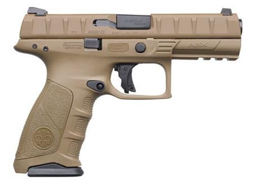 """Beretta APX Full Size 9mm, 4.9"""", 10rd, Flat Dark Earth, 3-Dot Sights"""