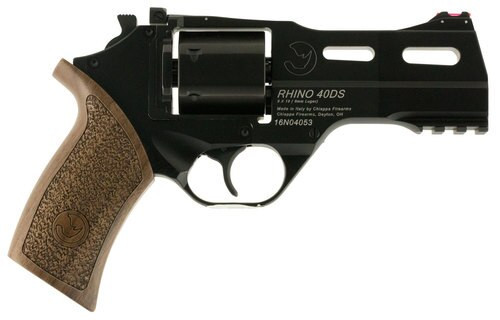 "Chiappa Rhino 40DS, 9mm, 4"" Barrel, 6rd, Walnut Grip, Black"