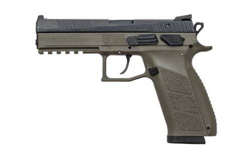 "CZ P-09 Full Size, 9mm, 4.5"", 19rd, OD Green Frame, Black, Night Sights"