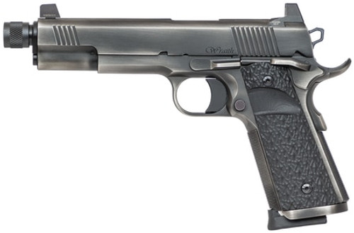 "Dan Wesson Wraith 9mm 1911, 5"" Threaded Barrel, Distressed Duty Slide Finish, G10 Grips, Night Sights"