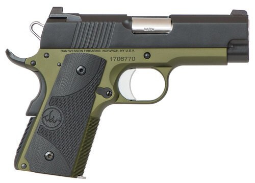 """Dan Wesson ECO 1911, 45 ACP, 3.5"""". 7rd, OD Green Anodized, Night Sights"""