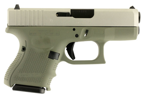 "Glock G26 9mm, 3.5"", 10rd, Forest Green Frame, Stainless Steel Slide"