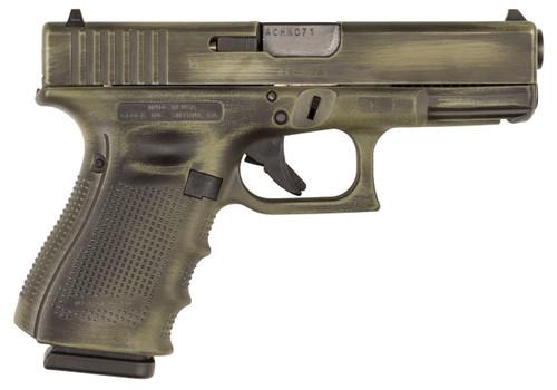 "Glock G19 Gen4 9mm, 4.01"", 15rd, OD Green Battleworn Finish"