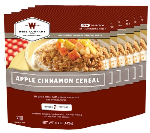 Wise Foods Outdoor Food Kit Apple Cinnamon Cereal Dehydrated/Freeze Dried