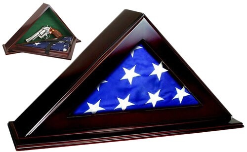 """Peace Keeper Patriot Flag Case with Concealment 22""""x4.25""""x11.5"""" Wood"""