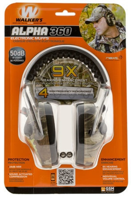 Walkers Game Ear Alpha Muffs 360 Earmuff 24 dB Camo