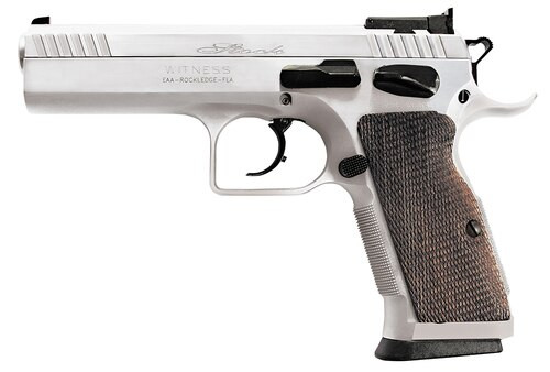 "EAA Witness Elite Stock 2 DA/SA 9mm 4.5"" Barrel, AS Wood Grip Chrome, 17rd"