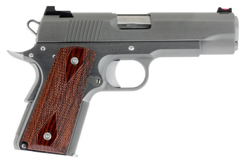 "Dan Wesson Pointman Carry, 1911 Carry Pistol, 45ACP, 4.25"" Barrel, Steel Frame, Stainless Finish, Wood Grips, Fiber Optic Fixed Sights, Thumb Safety, 7Rd 01843"
