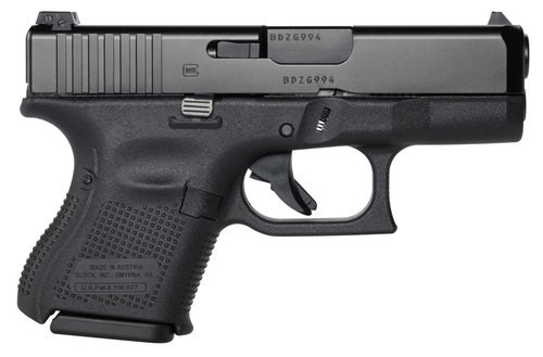 """Glock, 26 Gen5, Semi-automatic, Striker Fired, Sub Compact, 9mm, 3.43"""" Marksman Barrel, Polymer Frame, Matte Finish, Fixed Sights, 10Rd, 3 Magazines, Ambidextrous Slide Stop Lever, nDLC Finished Slide and Barrel, No Finger Grooves"""