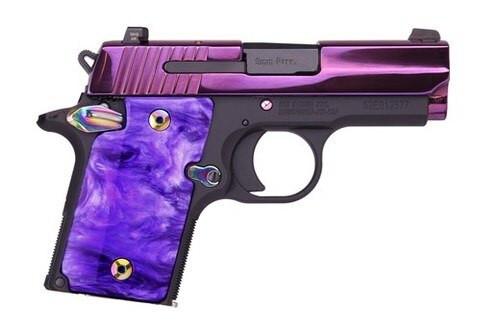 "Sig P938 9mm, 3"", 6rd, Purple PVD Finish/Purple Lava Purple Pearl Grip"