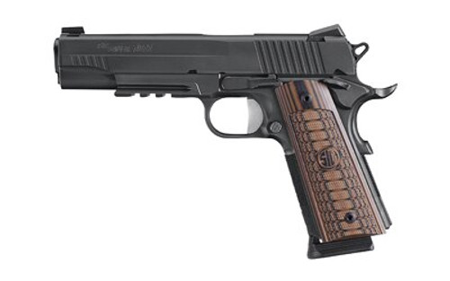 Sig 1911, 45 ACP, 5In, Select, Black, Sao, Siglite, Select, (2) 8RD Steel Mag, Rail