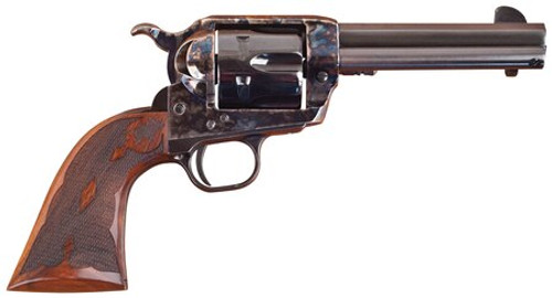 "Cimarron Firearms Eliminator-8 .45 Long Colt 4.75"" Barrel Standard Blue Finish Case Hardened Pre-War Frame Walnut Checkered Army Grip"