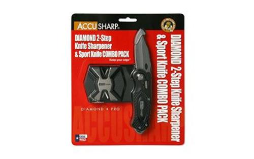 AccuSharp Sport Diamond, Diamond Two Step & Black Sport Knife Combo, Plain Edge, Aluminum, Black