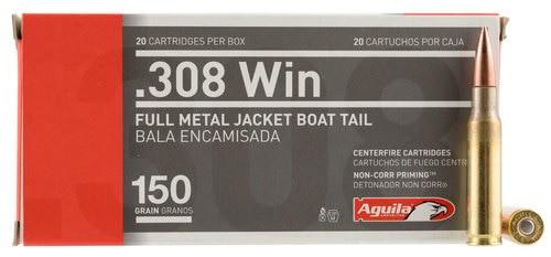Aguila 308 Win 150gr, Full Metal Jacket Boat Tail 20rd Box