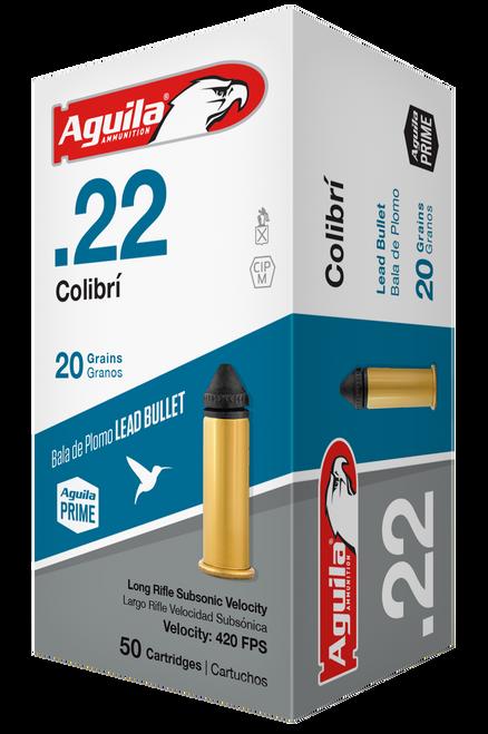 Aguila Ammunition, Rimfire, Colibri, 22 LR, 20gr, Powderless, Lead Bullet, 50rd Box