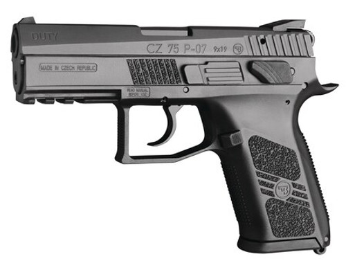 "CZ 75 P-07 Duty 9mm 3.8"" Barrel, Black Polycoat Finish, 16 Rnd Mag"
