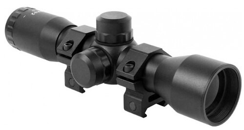 Keystone Sporting Arms Quick Focus, Rifle Scope, 4-32X, 32, Black, Rings, Stationary Mount Base (KSA031) Required to Mount Scope to Rifle, Made by Aim Sports