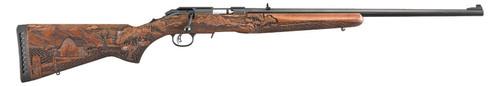 "Ruger American Rimfire Farmer 17hmr 22"" Barrel Engraved Wood Stock 9rd Mag"