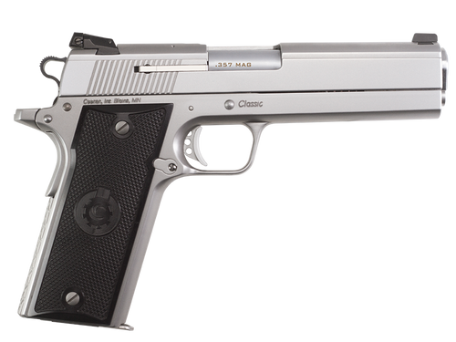 """Coonan Classic 357 Mag, 5"""", Satin Stainless, Adj. White Dot Sights, Black Alum Grips, 2 Mags (Special Order)"""