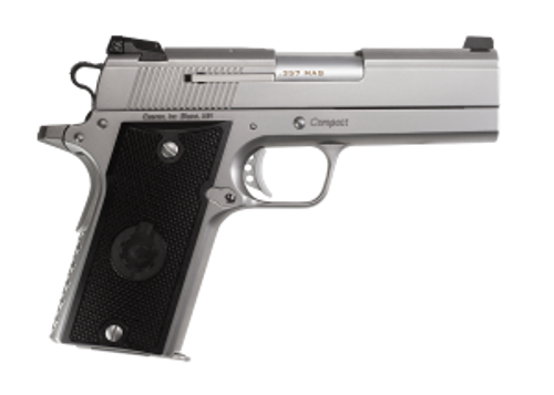 """Coonan Compact 357 Mag, 4"""", Satin Stainless, Fixed Night Sights, Black Alum Grips, 2 Mags (Special Order)"""
