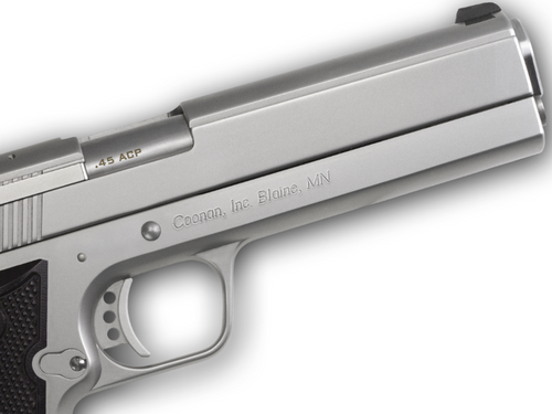 """Coonan MOT 45 ACP, 5"""", Satin Stainless, Fixed Night Sights, Black Alum Grips, 2 Mags (Special Order)"""